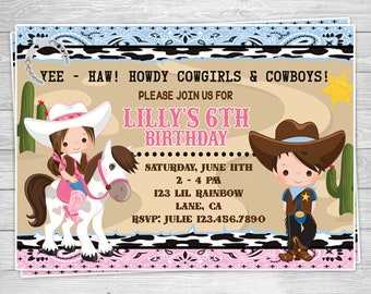 829-02: DIY - Cowboy and Cowgirl Party Invitation Or Thank You Card