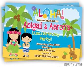 619: DIY - Luau 5 Party Invitation Or Thank You Card