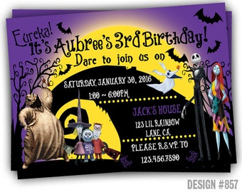 857: DIY - Nightmare Before Christmas Inspired Party Invitation Or Thank You Card