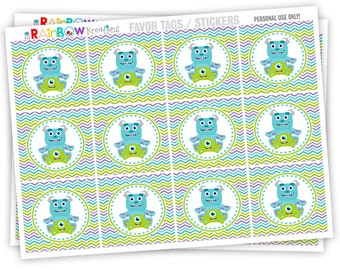 FVTAGS4-808: DIY - Monsters 3 Favor Tags - Instant Downloadable File
