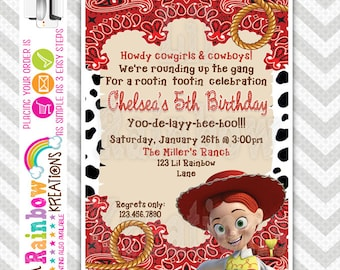 454: DIY - Cowgirl Jessie 2 Party Invitation Or Thank You Card