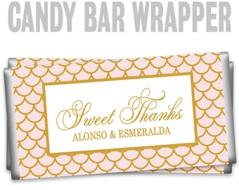 CBW-844: Chic Pink and Gold Candy Bar Wrapper To Match Your Theme