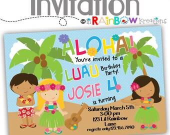 058: DIY - Luau 2 Party Invitation Or Thank You Card