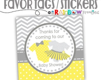 FVTAGS-796: DIY Ties or Tutus Favor Tags Or Stickers - Instant Downloadable File