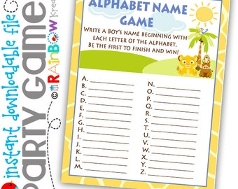 GAME2-640: DIY - King Of The Jungle Alphabhet Name Party Game - Instant Downloadable File