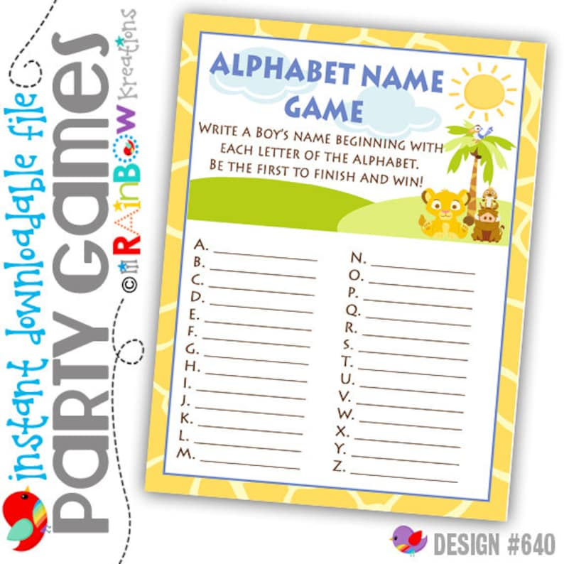 DIY Instant Downloadable File GAME2-640 King Of The Jungle Alphabhet Name Party Game
