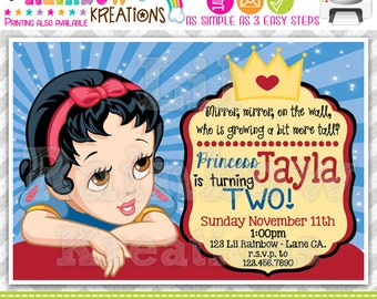 534: DIY - Baby Princess Snow White Inspired Party Invitation Or Thank You Card