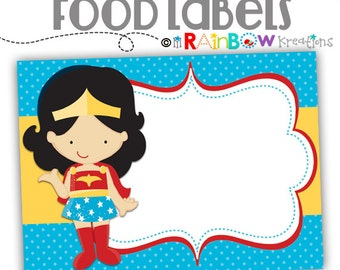 031 Food Labels: Super Hero Candy or Buffet Labels-Instant Downloadable File