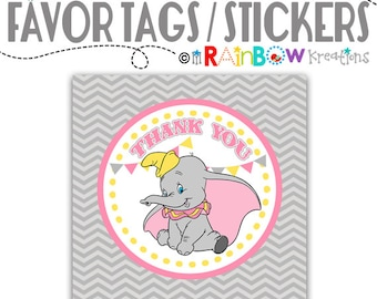 FVTAGS-775: DIY - Vintage Elephant Favor Tags - Instant Downloadable File