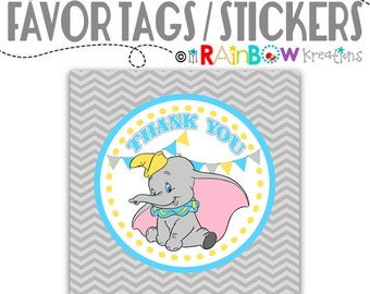 FVTAGS2-775: DIY - Vintage Elephant 2 Favor Tags - Instant Downloadable File