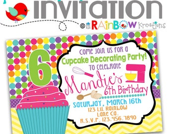 641: DIY - Cupcake Decorating Party Invitation Or Thank You Card