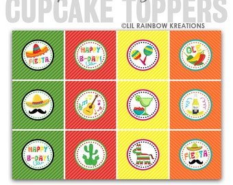 CT-762: DIY - Mexican Fiesta Cupcake Toppers-Instant Downloadable File
