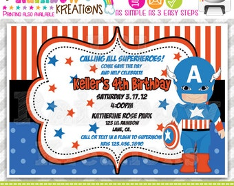 517: DIY - Super Hero 11 Party Invitation Or Thank You Card