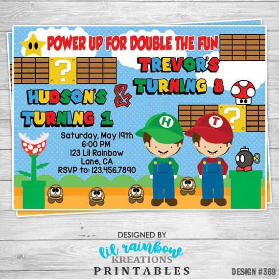 369 02 Diy Mario Bros 2 Inspired Party Invitation Or Thank Etsy