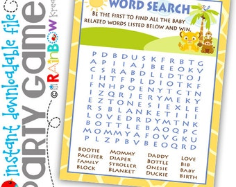 GAME3-640: DIY - King Of The Jungle Word Search Party Game - Instant Downloadable File
