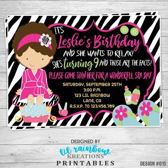 015: DIY Zebra Print Spa 4 Party Invitation Or Thank You