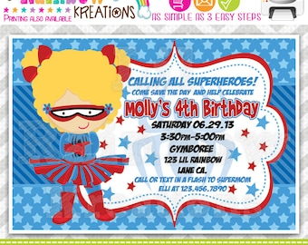 627: DIY - Super Hero 12 Party Invitation Or Thank You Card