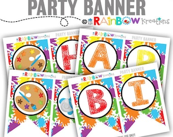 PRTYB-826: DIY Paint Party Banner - Instant Downloadable Files
