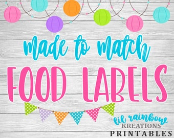 Made To Match Food Labels-Candy Labels For Any Theme