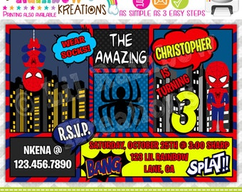 750: DIY - Super Hero 20 Party Invitation Or Thank You Card