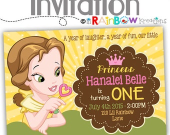 533: DIY - Baby Princess Belle Inspired Party Invitation Or Thank You Card
