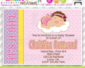 135: DIY - Dreaming Baby Party Invitation Or Thank You Card