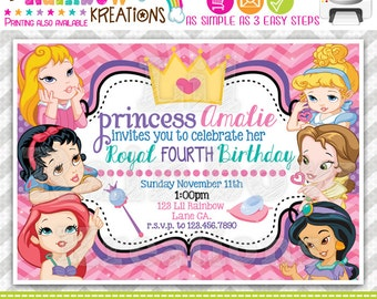 589: DIY - Baby Princesses Inspired Party Invitation Or Thank You Card