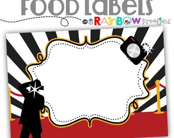 475 Food Labels: Hollywood Red Carpet 4 Candy or Buffet Labels - Instant Downloadable File