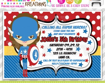 499: DIY - Super Hero 10 Party Invitation Or Thank You Card