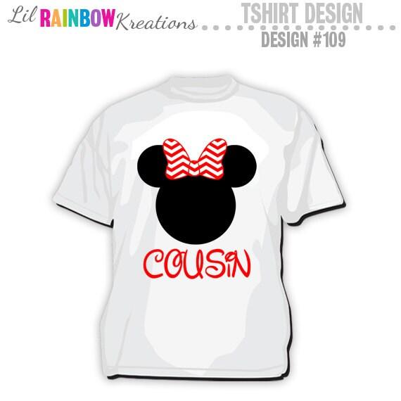Minnie Mouse T Shirt Design   Ts 109 Diy Minnie Mouse Cousin T Shirt Design Instant Etsy