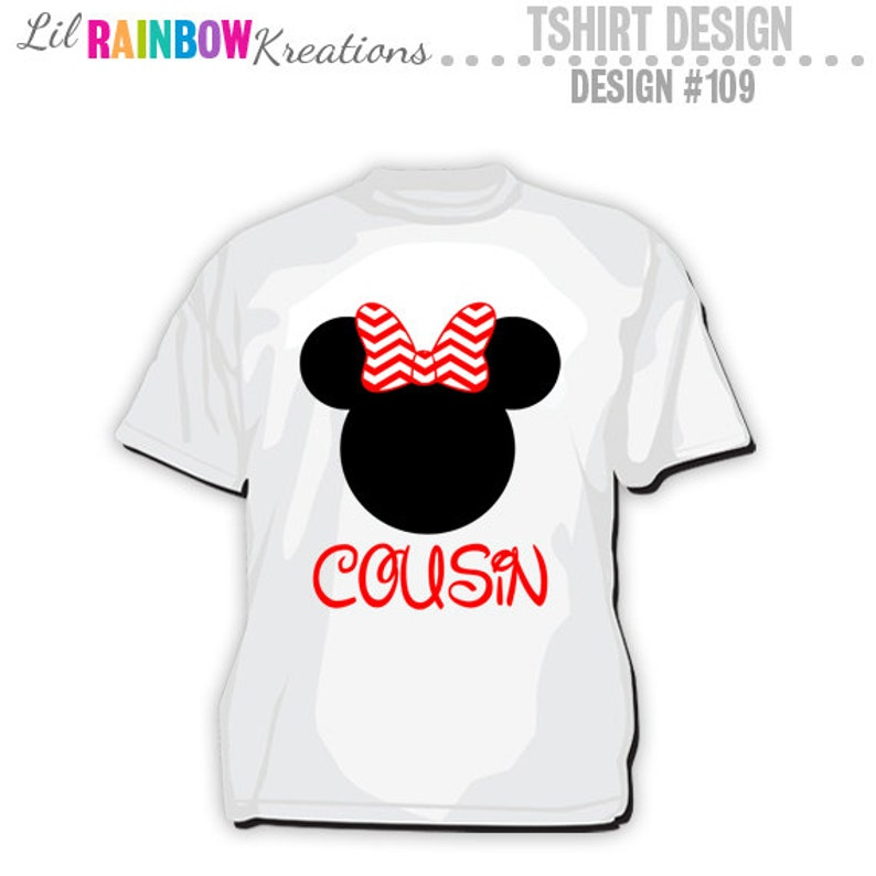 6b9ac7be TS-109: DIY Minnie Mouse Cousin T-Shirt Design Instant | Etsy