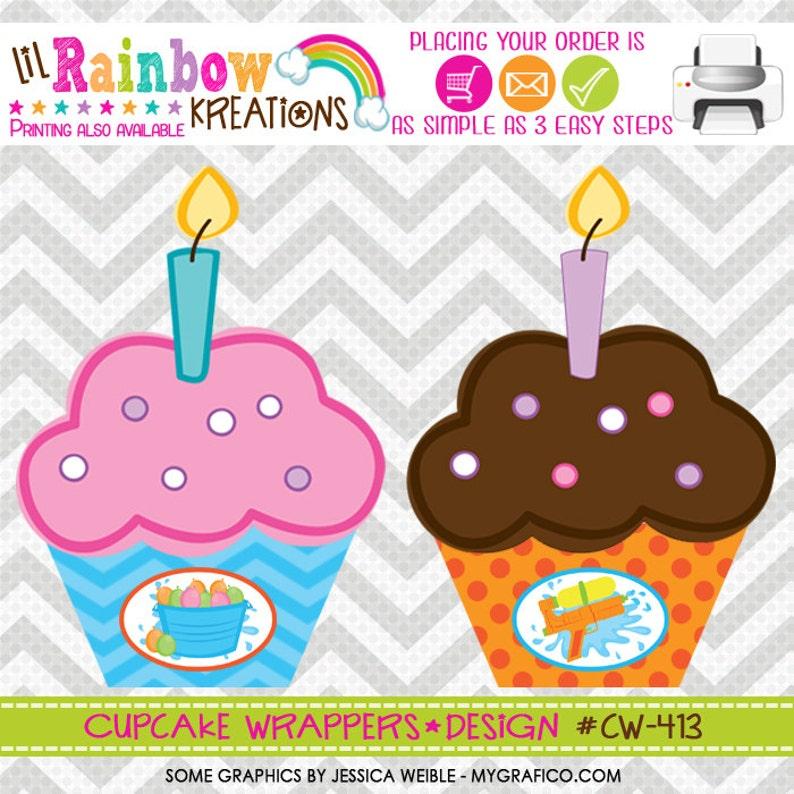 DIY CW-413 Water Gun Fun Cupcake Wrappers