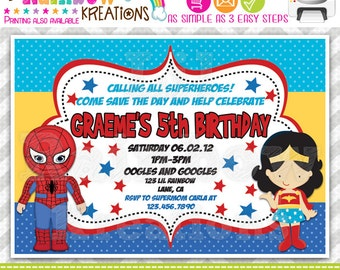 374: DIY - Super Hero 6 Party Invitation Or Thank You Card