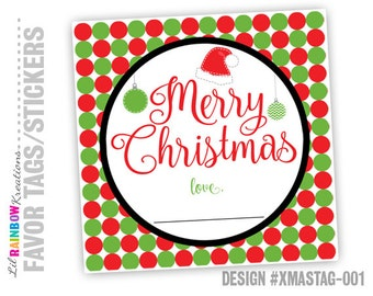 XMASTAG-001: DIY - Merry Christmas Tag - Instant Downloadable File