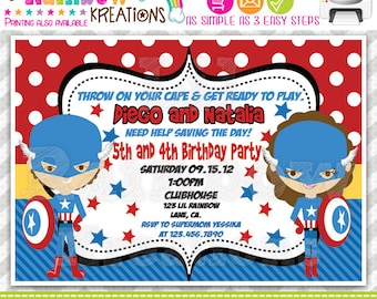 490: DIY - Super Hero 8 Party Invitation Or Thank You Card