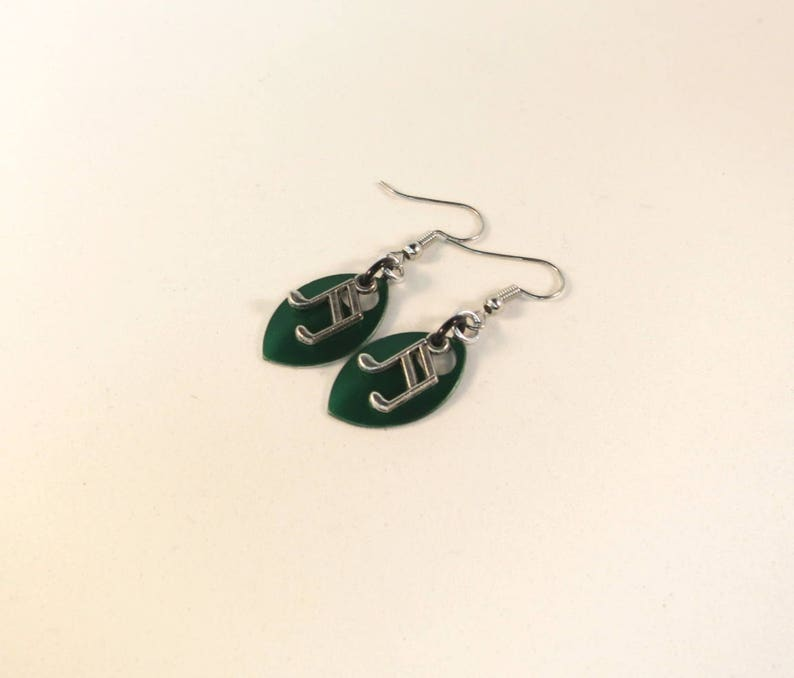 Music Note Scalemaille Earrings  Green Chain Maille  Indigenous Jewelry  Drop Earrings  Charms  Fish hook  Clip On  Sterling Silver