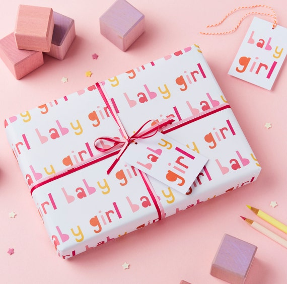 New Baby Girl Wrapping Paper New Baby Gift Wrap Baby Girl Etsy