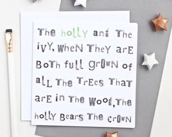 The Holly & The Ivy... Christmas Card - blank christmas card, christmas cards pack, christmas cards, xmas cards pack, christmas carol card