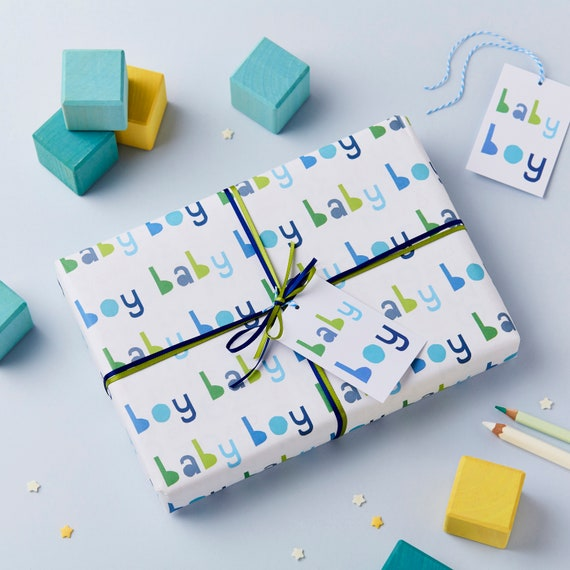 New Baby Boy Wrapping Paper Set New Baby Gift Wrap Baby Boy Etsy