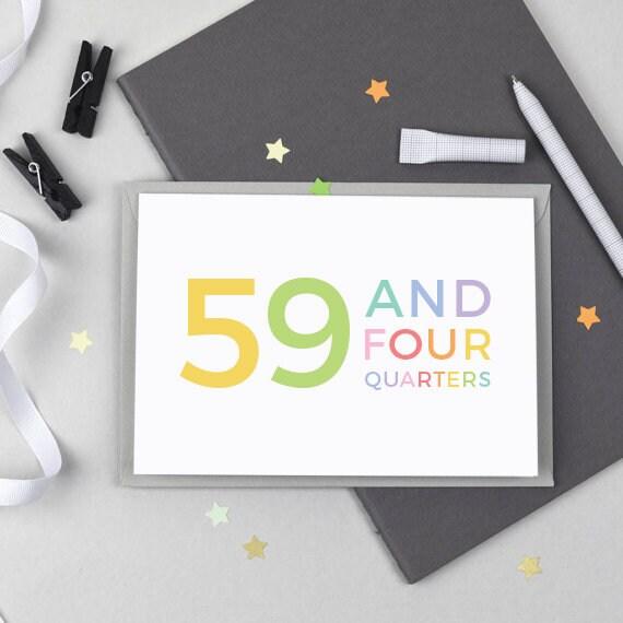 60ste Verjaardag Card 59 En Vier Kwartalen Grappige 60e Etsy