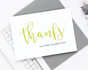 Thank You Card - Many Thanks Card - Typography Card - Script Font - Greetings Card - Correspondence - Calligraphy