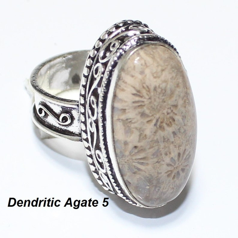 Dendritic Agate  Sodolite  Green Moss Agate  Pink Agate Ring Silver Overlay Fashion Jewellery Handmade Jewelry Vintage 7.50 US Size Sale