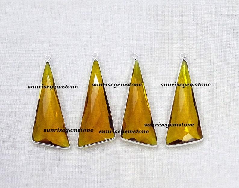 Sale 35 /% Off 0 pcs Citrine Quartz Hydro Long Trillian 14X35 mm 925 Silver Plated Single Bail Faceted Bezel Charm Pendant.