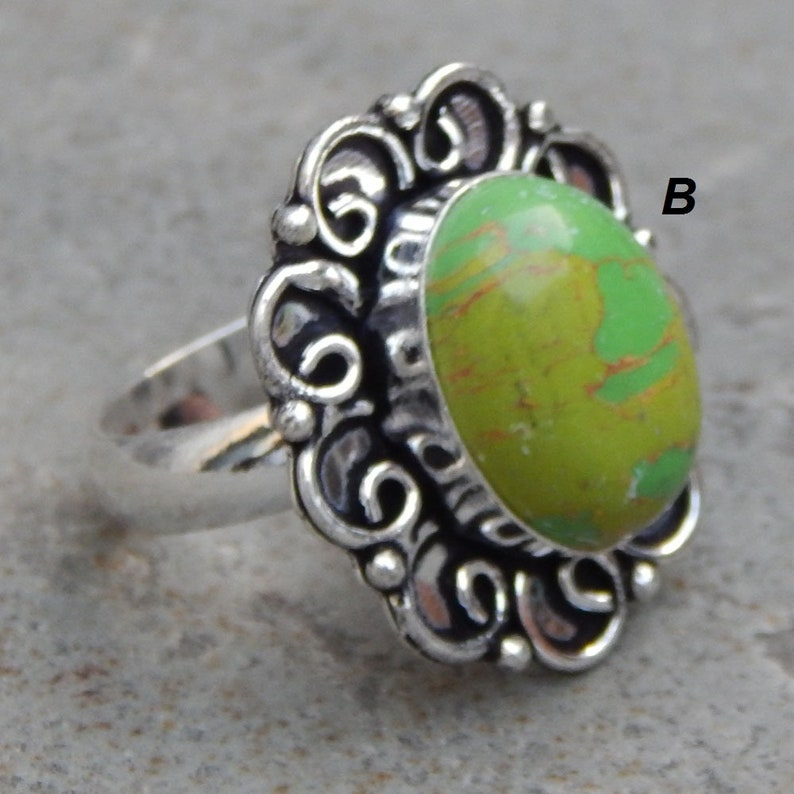 Multi Color Agate Ring Silver Overlay Fashion Jewellery Vintage Fancy Designer Handmade Jewelry For Gift Sale 9 US Size. Turquoise Green
