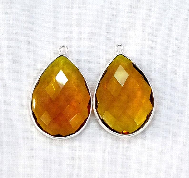 2 pcs Bear Quartz Hydro Faceted Pear Drop Bezel 24k Gold  925 Silver  Black Plated Single Bail Charm Pendant For Making Handmade Jewelry.