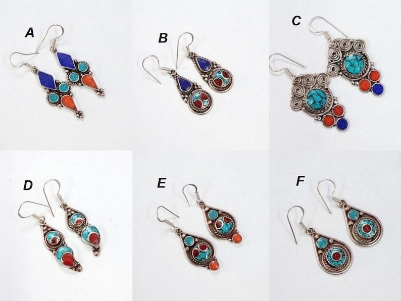 3808b90cd TIBETAN Blue Turquoise Earrings Red Coral Nepalese Vintage | Etsy