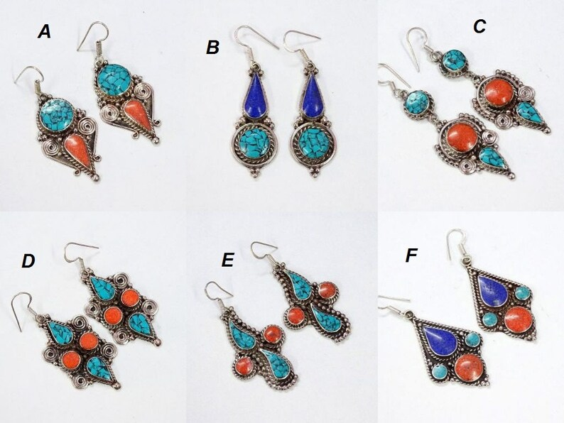 143e0f374 TIBETAN Blue Turquoise Earrings Red Coral Lapis Lazuli Vintage | Etsy