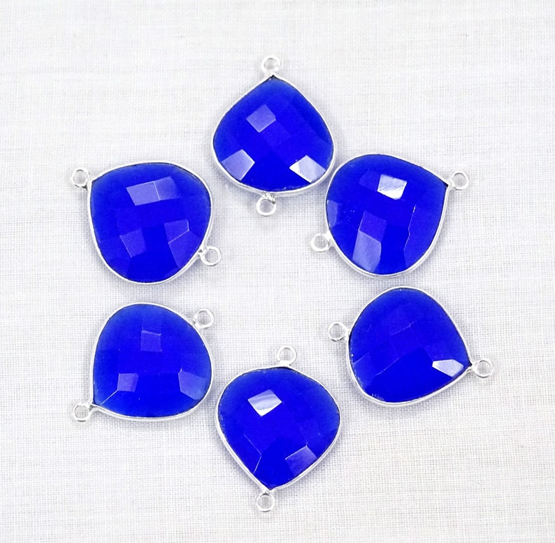 45/% Off 6 Pcs Lot Blue Chalcedony Heart Shape 16 mm 925 Silver Plated Double Bail Gemstone Connector. Hurry