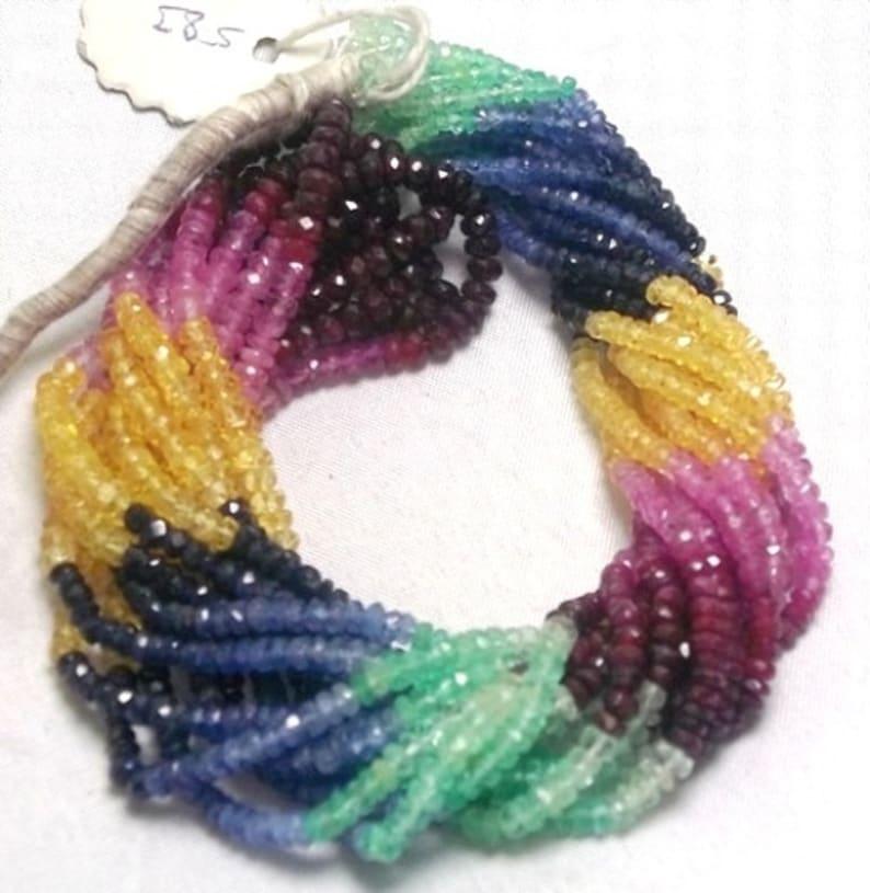 Big Sale 45/% Off Full 16 Inch strand Multi Color Precious Gemstone Emerald Ruby Sapphire faceted Rondelle bead.