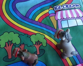 Rainbow Play Mat - Pretty Birdies with Pink/White Spotty Pockets